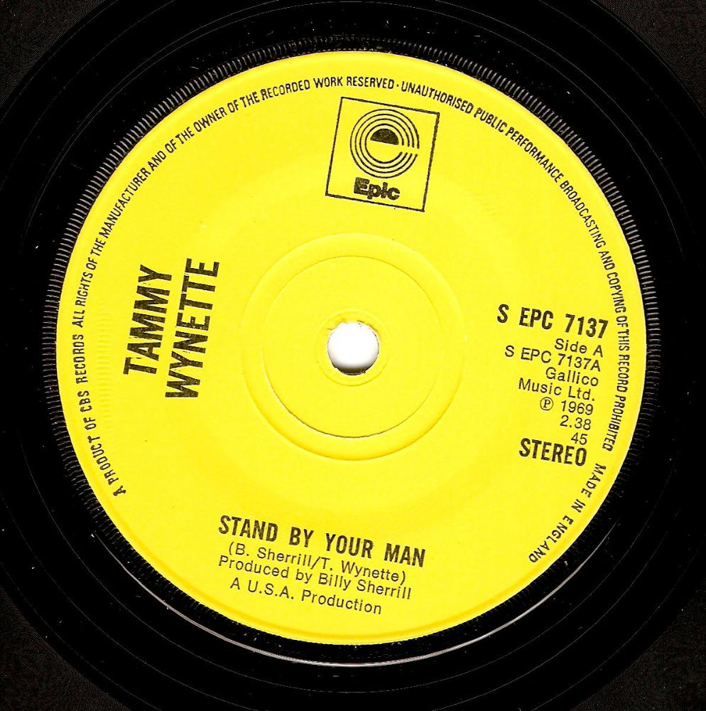 TAMMY WYNETTE Stand By Your Man Vinyl Record 7 Inch Epic 1971.